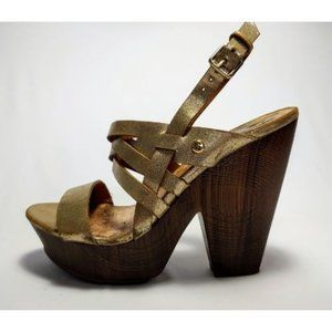 G BY GUESS Wedges gold sandals, size 6.5